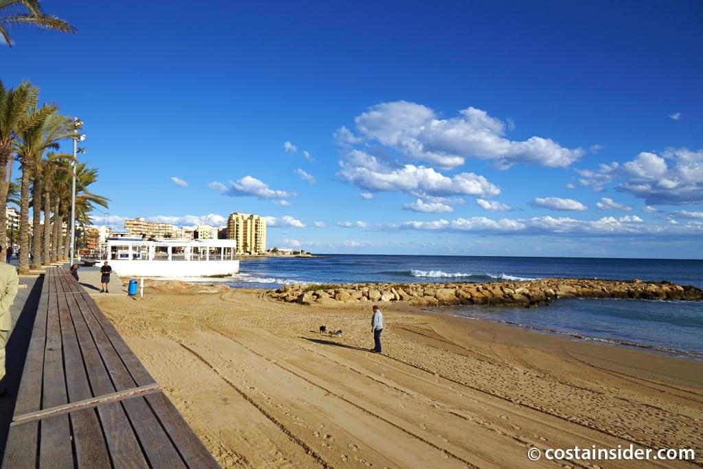 Karta Fran Alicante Till Torrevieja.Platja Del Cura Nara Torrevieja Spanien Vatten Temperatur Foton