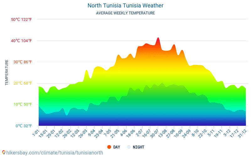 Túnez del norte - Clima y temperaturas medias mensuales 2015 - 2018 Temperatura media en Túnez del norte sobre los años. Tiempo promedio en Túnez del norte, Túnez.