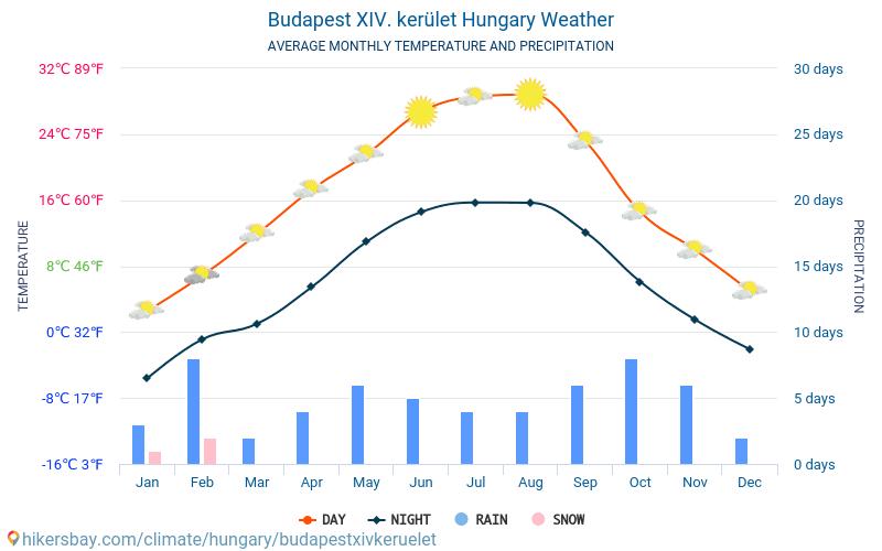 Budapest XIV. kerület - Gennemsnitlige månedlige temperatur og vejr 2015 - 2019 Gennemsnitstemperatur i Budapest XIV. kerület gennem årene. Gennemsnitlige vejr i Budapest XIV. kerület, Ungarn.