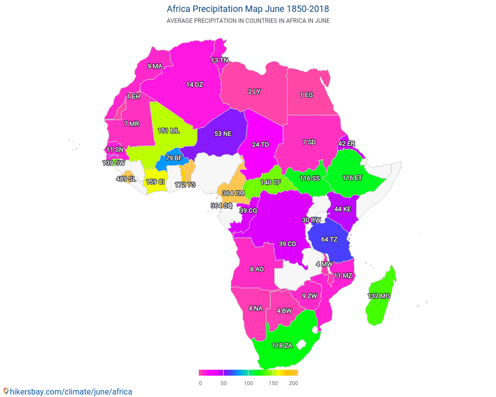 Africa - Average temperature in Africa over the years. Average Weather in June.