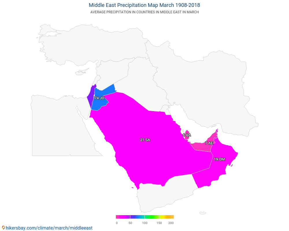Middle East - Average temperature in Middle East over the years. Average Weather in March.