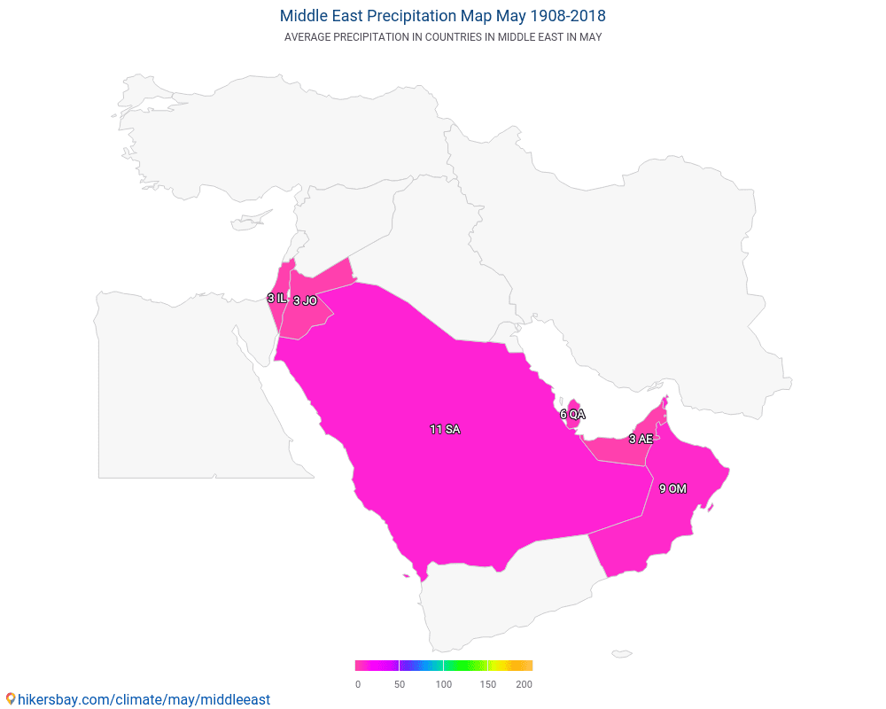 Middle East - Average temperature in Middle East over the years. Average Weather in May.