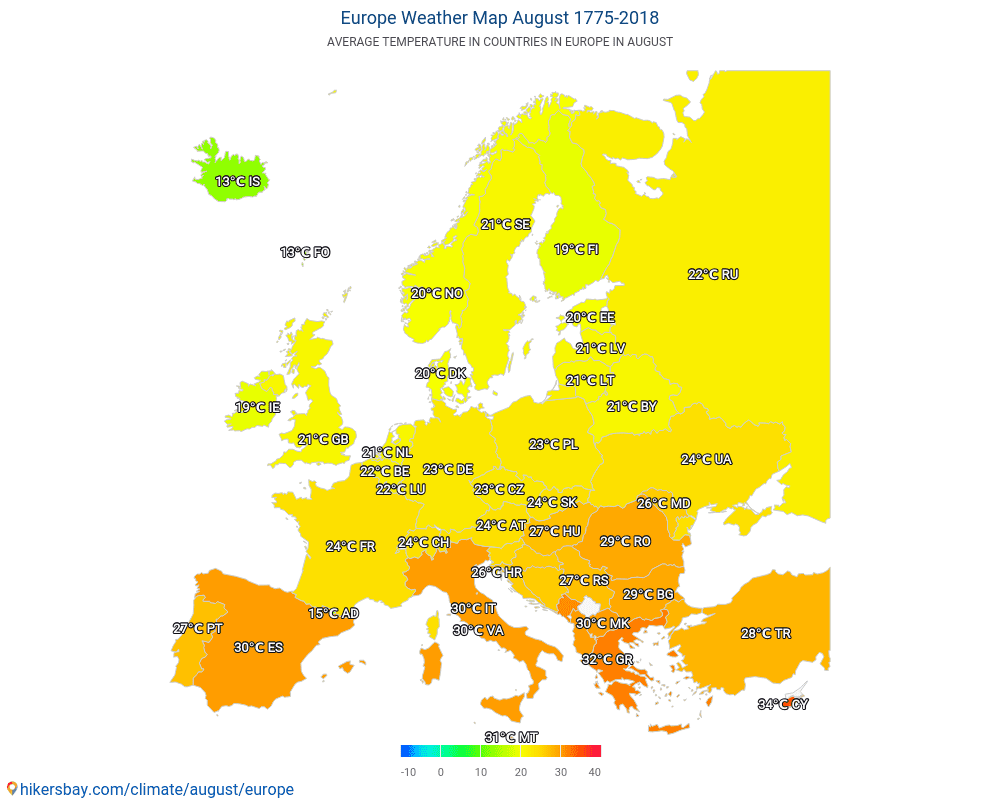 Europe - Average temperature in Europe over the years. Average Weather in August.