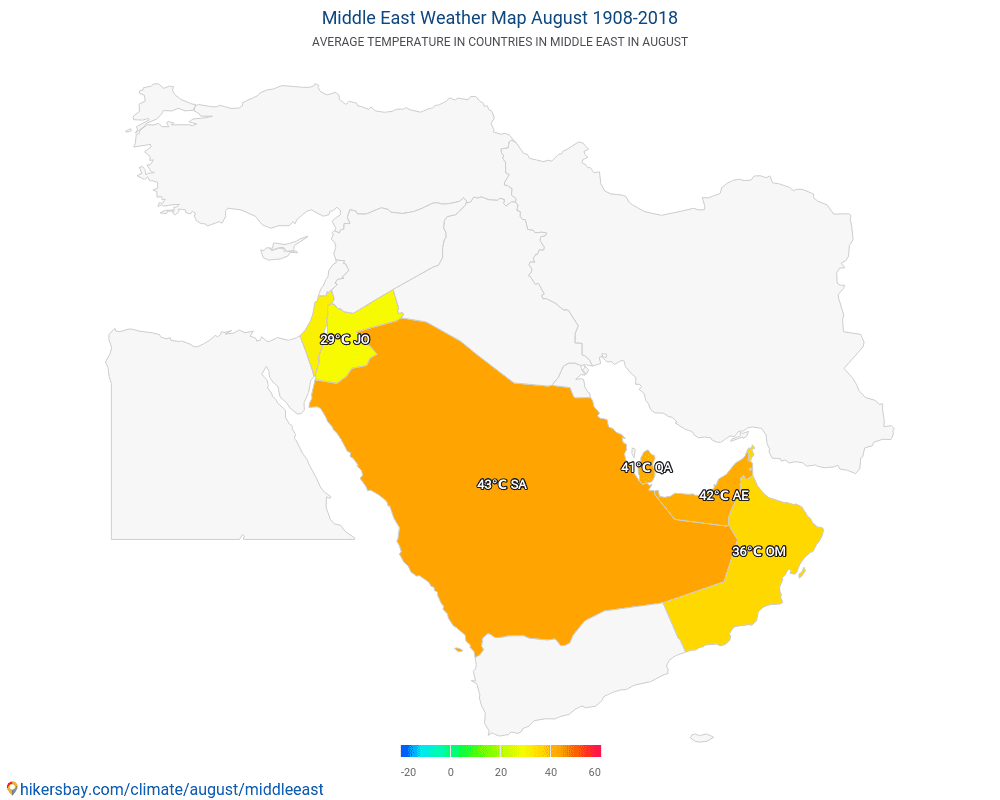 Middle East - Average temperature in Middle East over the years. Average Weather in August.
