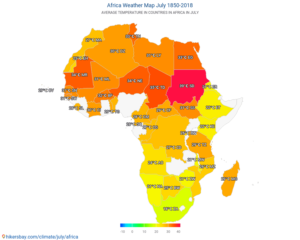 Africa - Average temperature in Africa over the years. Average Weather in July.