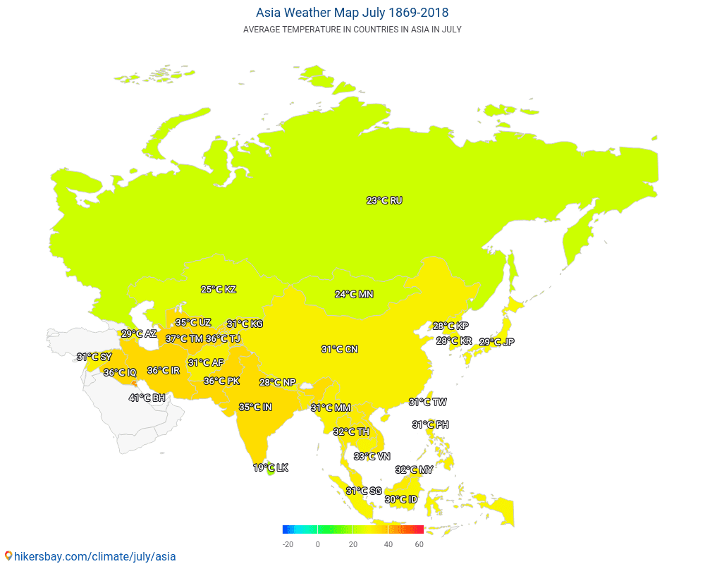 Asia - Average temperature in Asia over the years. Average Weather in July.