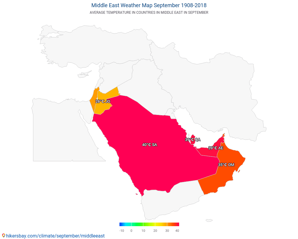 Middle East - Average temperature in Middle East over the years. Average Weather in September.