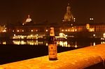 radeberger beer, dresden, at night