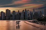 city, skyline, dusk