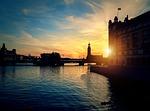 stockholm, sunset, river
