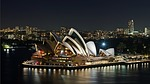 sydney opera house, night, harbor