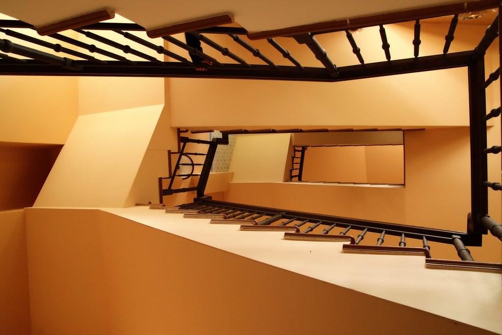 Image of Pakruojo dvaras. stairs spiral golden hand staircase zigzag ratio pakruojis pakruojodvaras