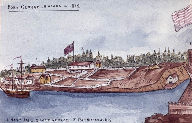 Image of Fort George. ontario canada painting fort lac niagara peinture exploration forts settlement fortgeorge bac 1812 colonisation libraryandarchivescanada bibliothèqueetarchivescanada alfredsandham