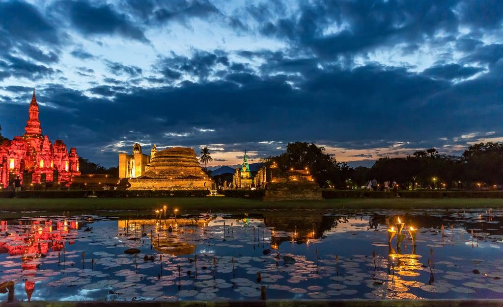 Image of Sukhothai Historical Park near Ban Na. thailand sukhothai sukhothaihistoricalpark lightshow watmahathat