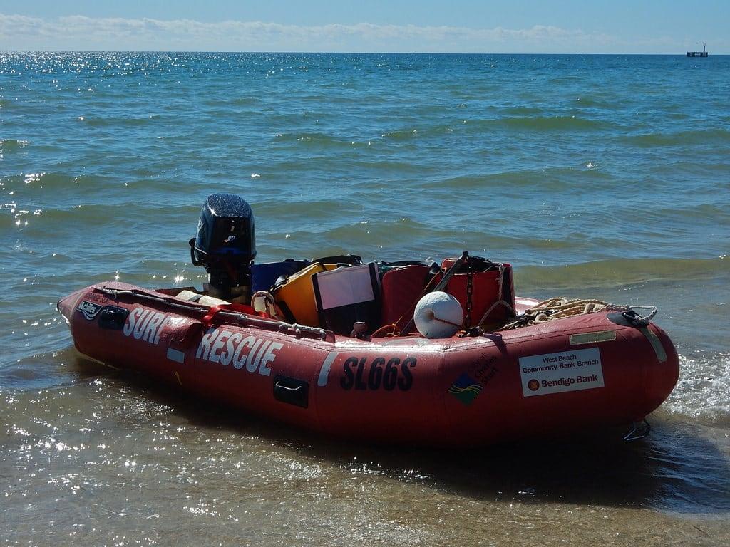 Image of Grange Beach near Grange. grange beach shore searescue dinghy rubber buckets motor shallows