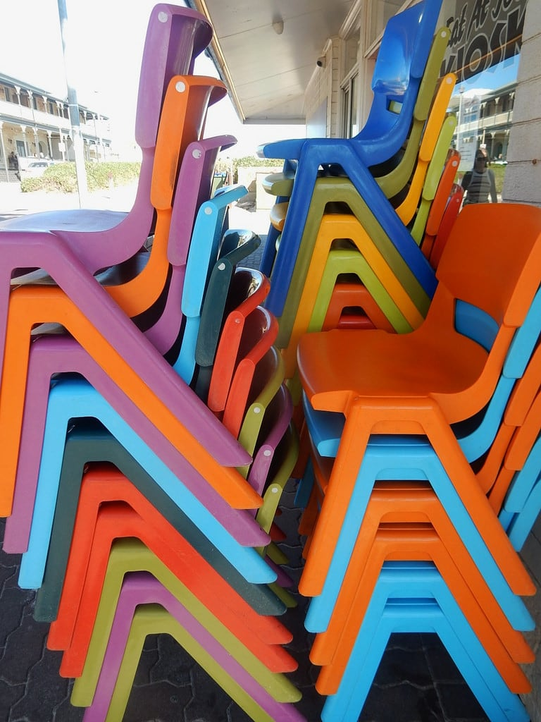 Image of Henley Beach near Henley Beach. stacks chairs coloured colored plastic henleybeach
