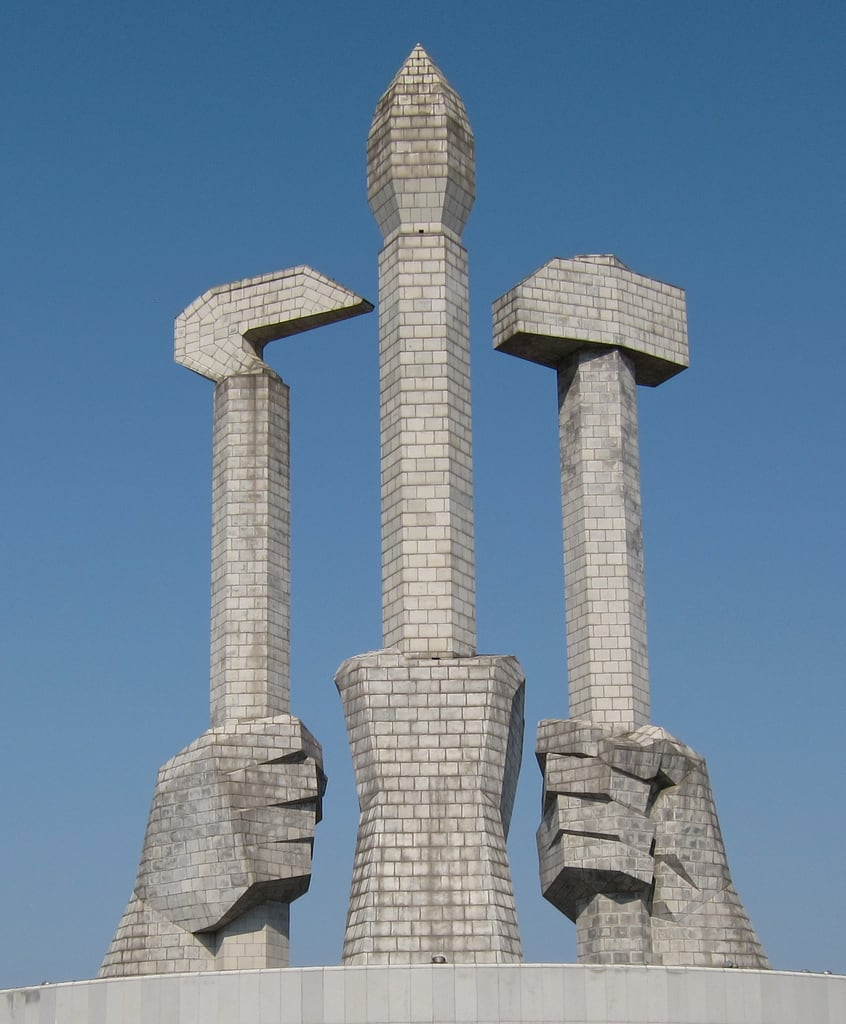 Image of Party Foundation Monument. monument hammer architecture brush sickle northkorea pyongyang dprk wpk workerspartyofkorea
