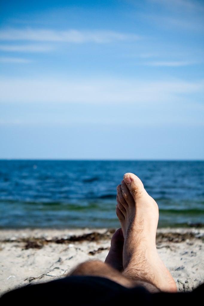 Image of Moesgård Strand. blue sea vacation sky sun feet beach water relax denmark foot sand aarhus