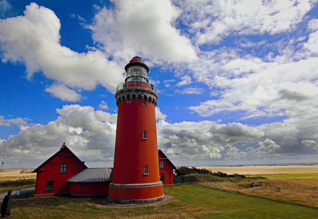 Image of Bovbjerg Fyr. red summer sky lighthouse holiday classic weather architecture clouds germany landscape europe postcard wideangle bluegreen bovbjerg