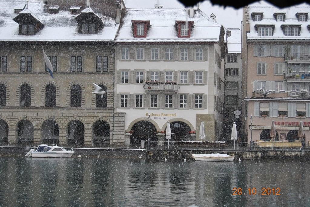 Image of Rathaus. luzern neve svizzera rathaus lucerna interlaken montreux kapellbrücke goldenpass bräuerei